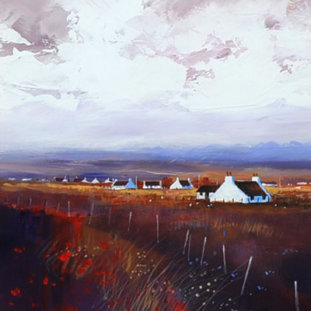 White Cottages And Poppy Fields