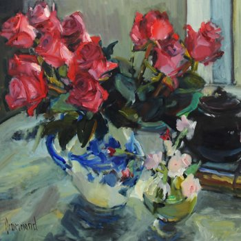 Title: Roses for the Table Artist: Marion Drummond Medium: Oil on Board Size: 78 x 80cm Price: £2500