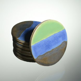 Coasters Green/Blue Bronze Glaze
