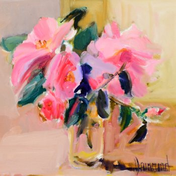 Title: Little Camellia Artist: Marion Drummond Medium: Oil on Board Frame Size: 45 x 45cm Price: £1,100