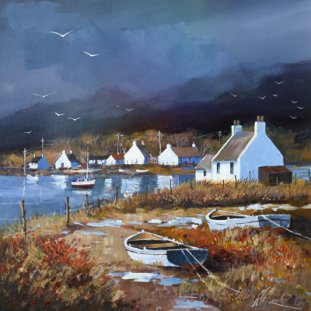 Boats & Cottages, Lochside Reflections