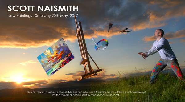 Copyright Pic: Mike Day/Saltire News And Sport Ltd  17_03_MG_ArtMag_Naismith_1.psd With His Very Own Unconventional Style Scottish Artist Scott Naismith Creates Striking Paintings Inspired By The Rapidly Changing Light Over Scotland's West Coast.  Tel: Mobile: 07703 172 263 E-mail: George@saltirenews.com